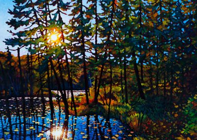 """End of Day, Trapper's Trail 36"""" by 36"""""""
