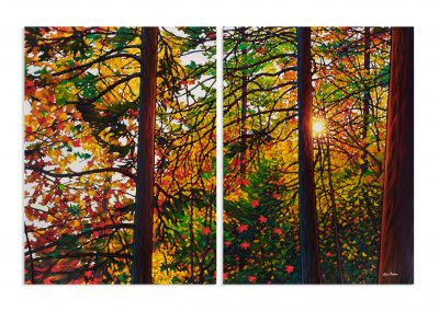"Glowing Pines, Batchewana Bay 48"" by 72"" Diptych"