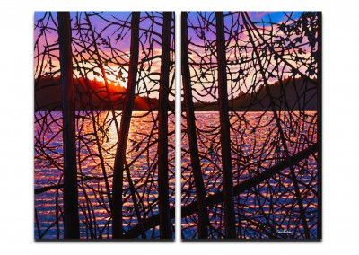 "Day's End, Trapper's Trail 48"" by 60"" Diptych"