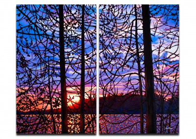"Night Falls, Algoma 48"" by 60"" Diptych"